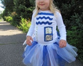 Adorable R2D2 Inspired Droid Halloween Tutu Costume for Newborn through Toddler Girls