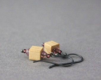wooden cube earrings purple dangle earrings rustic sterling silver