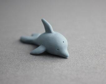 dolphin figurine polymer clay dolphin tiny dolphin miniature pocket totem