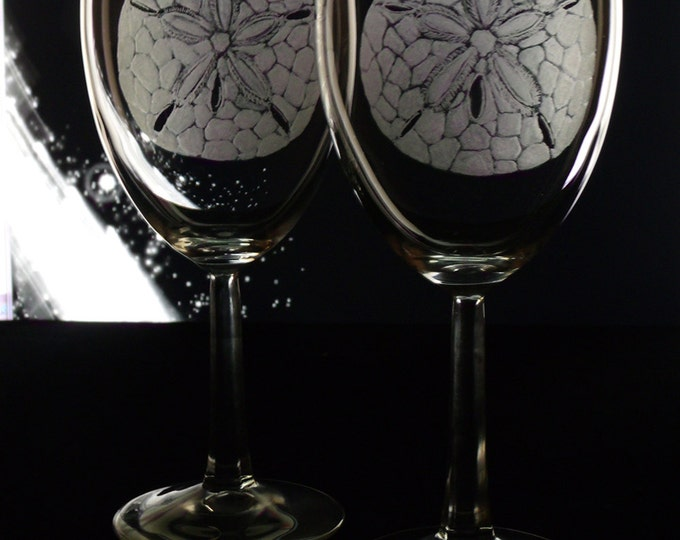 etched sand dollar Wine Glass set of 8 hand engraved custom glassware Wine glasses