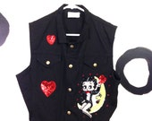 90s Black Denim Betty Boop Applique Vest Size Large