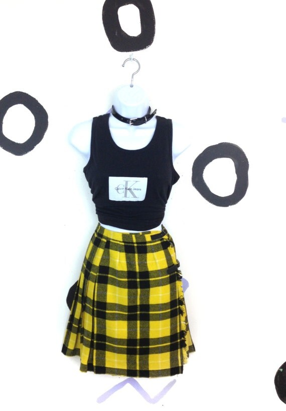 60s Yellow and Black Wool Kilt with Leather Buckles / Clueless / Tartan / Grunge / 90s