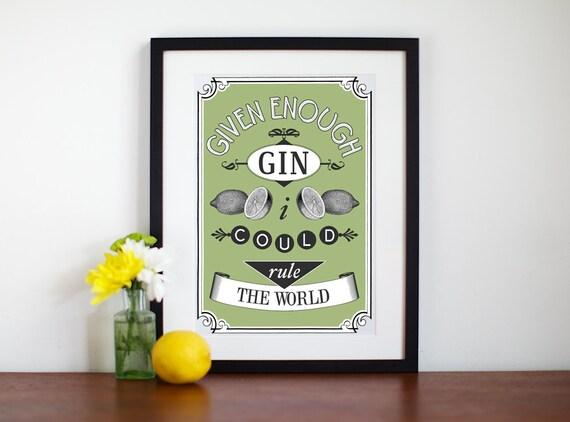 Gin-Poster Küche Kunst Gin Print Küche Print A3 Drucken