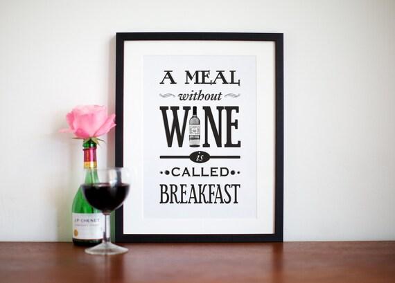 Wein-Kunstdruck Küche Poster Typografische Print Geschenk