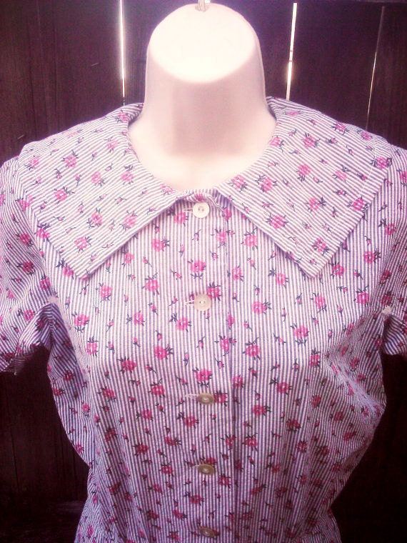 Vintage 1950s 1960s Grey Floral Dress  Small Housewife Peter Pan Collar Mad Men S/M
