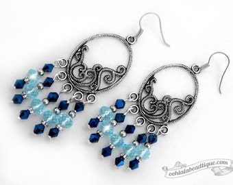 Blue chandelier earrings, Blue crystal earrings, birthstone earrings, Bohemian jewelry, gypsy earrings birtstone jewelry, long earrings blue