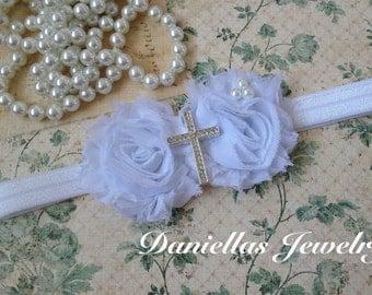 Cross Baptism Vintage Headband/White Headband /baby Girl Headband /Headband /photo prop