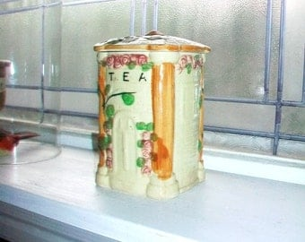 Vintage Tea Canister Country Cottage With Roses