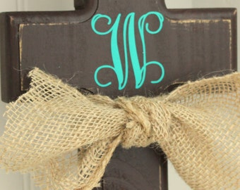 Distressed Monogram Wooden Cross - Brown Auqa Monogram Cross