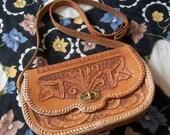 """Genuine Leather Handstamped """"YVONNE"""" Vintage Southwestern Hipster Bag"""