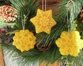 Snowflake Beeswax Christmas Ornaments - New Year and Holidays Ornaments - Set of 3