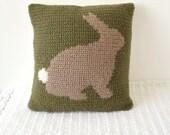 cushion crochet intarsia pattern bunny rabbit pillow graph pattern chart photo tutorial woodland animal crochet pattern