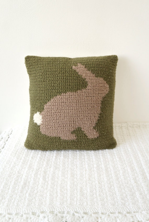 cushion crochet intarsia pattern bunny rabbit pillow graph pattern chart photo tutorial woodland animal crochet pattern