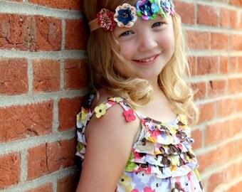 Olivia - Fabric Flower Headband (Features Five Flowers)
