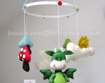 The Cute Dragon felt crib baby mobile
