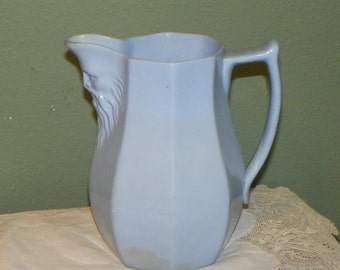 Antique Copeland EWER Pitcher North Wind man Pottery Spode Mask Blue