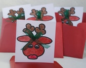 Pack of Four Small Reindeer Cards Handmade Cards
