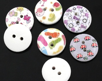 25 Buttons Wood Painted - Mixed Designs - 2 Holes - 15mm  - Ships IMMEDIATELY from California - W59