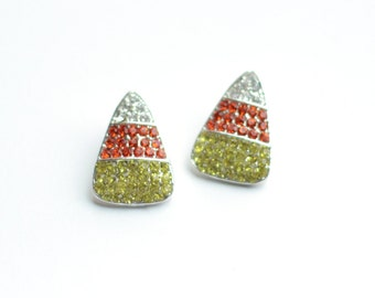 """SALE 2 Silver Halloween Buttons - Mixed Color Rhinestones - Candy Corn - Ribbon Slide Button - 1"""" Tall - Ships IMMEDIATELY - RB16"""