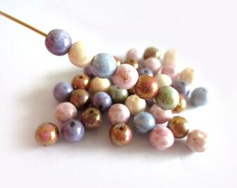 50 Pcs - Czech Glass Round Beads - Opaque Luster Mix 6mm