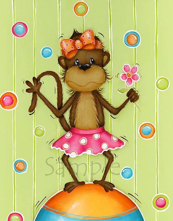 Girl Monkey Art Print ~ Childrens Wall Art ~ Monkey Decor ~ Nursery Wall Art ~  Monkey Girls Room ~ Print ~ Circus
