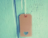 Hand punched heart tags in rustic vintage style brown - 120 x 60mm - clothing labels - heart shaped - shop tags - etsy shop supplies