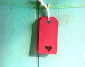 10 heart red luggage label gift tags - red card - small hearts - place names - vintage wedding - strung - etsy dorothy days