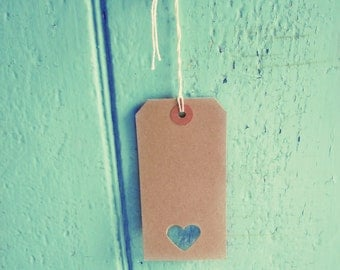 100 brown heart tags wedding favour tag uk