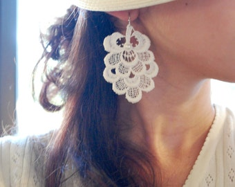 Lace Earrings -- White Lace, Silver, White Pearl