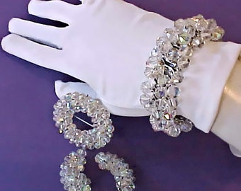 Gorgeous Vintage 1950's Crystal Jewelry Set by Laguna-Bracelet, Brooch and Earrings