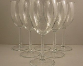 "Wine Glasses 11 fl. oz.  Stands 7 1/8""  A Pair of France Luminarc'  Ware Six Sided Stem"