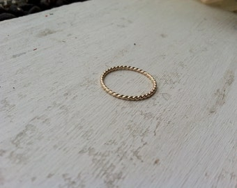 16g Thick Rope Textured 14k Yellow Gold Fill Stacking Ring - custom made to order