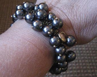 Vintage J Crew beaded bracelet.  Silver beads.  Ladies jewelry.
