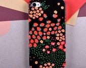 "iPhone Case, Anja Jane ""Strawberry"" Illustration of red strawberries on black  background. Folk art inspired pattern."