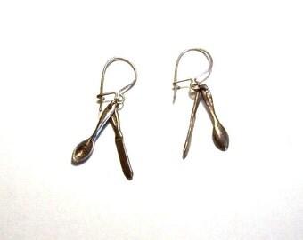 Vintage Sterling Silverware Earrings: Spoon & Knife Dangle Earrings - I1036
