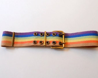 Vintage Rainbow Belt Wide Woven Multi-color  Belt 1970's Brass Buckle Hipster Hippie Boho
