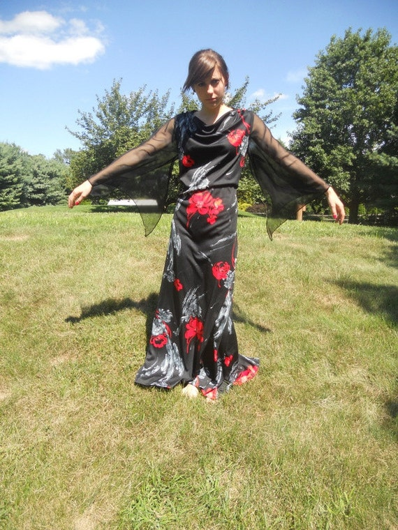 Black Maxi Dress Gothic Long Grunge Floral Print  Festival Dress Hippie Bohemian Florence and the Machine Medium Large SALE