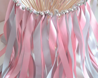 Chic Wedding Ribbon Wands-send off/party steamers set of 100 double ribbon wands with rhinestones and bells