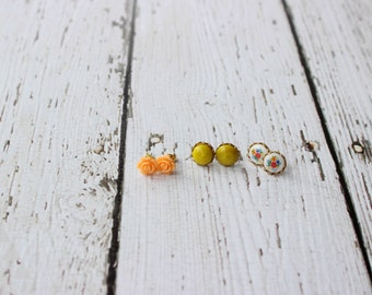 three sets of post earrings - chartreuse dot + vintage floral milk glass + peach rose