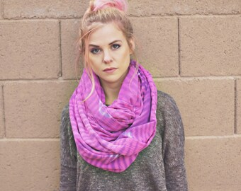 OVERSIZED INFINITY SCARF shibori purple pink white cotton hand dyed statement giant christmas gift