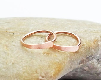 14K Rose Gold Filled Cartilage Earrings, 20 Gauge Pink Gold Small Hammered Hoops, Ear Huggers, Helix Piercing 6mm 7mm 8mm 9mm 10mm 11mm 12mm