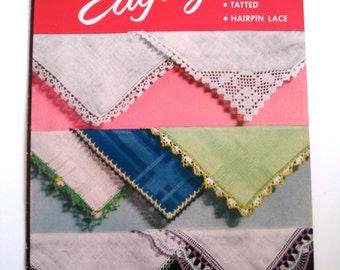 Vintage Crochet Pattern Booklet, Handkerchief Edgings, American Thread Co, 1953