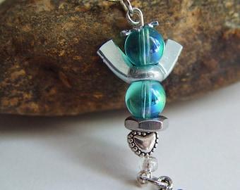 Baby Blue Beaded Silver Wingnut Clip On Angel Love Charm Keychain