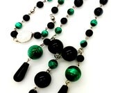 SALE WAS 120.00 NOW 80.00 Vintage Art Deco Onyx and Malachite Sterling Silver Festoon Necklace
