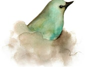 Aqua Bird Note Cards, Blue Green and Brown Bird Printed from Watercolor Painting