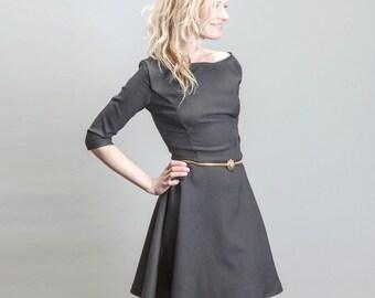 Little Black Skater Cocktail Dress with Full Circle Skirt