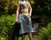 OOAK Victorian ensemble with japanese design (corset, wateau pleat skirt and blouse) 25-28 waist