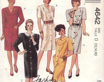 80s Button Front Dress Pattern McCalls 4642 Sizes 12 14 16 Uncut
