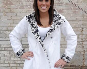 Womens Swing Coat in Corduroy Wool or Tweed Optional Hood Fully Lined Jacket for Warm Winter Outerwear