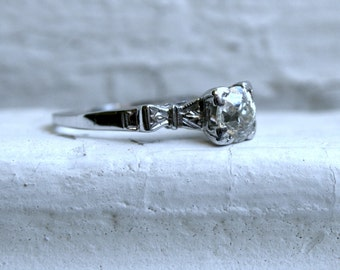 Art Deco Vintage 14K White Gold Diamond Solitaire Engagement Ring - 0.70ct